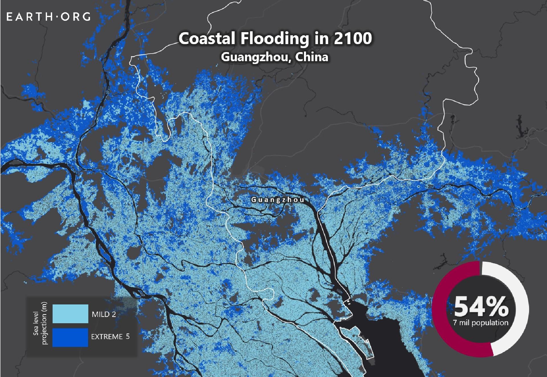 sea level rise by 2100 Guangzhou