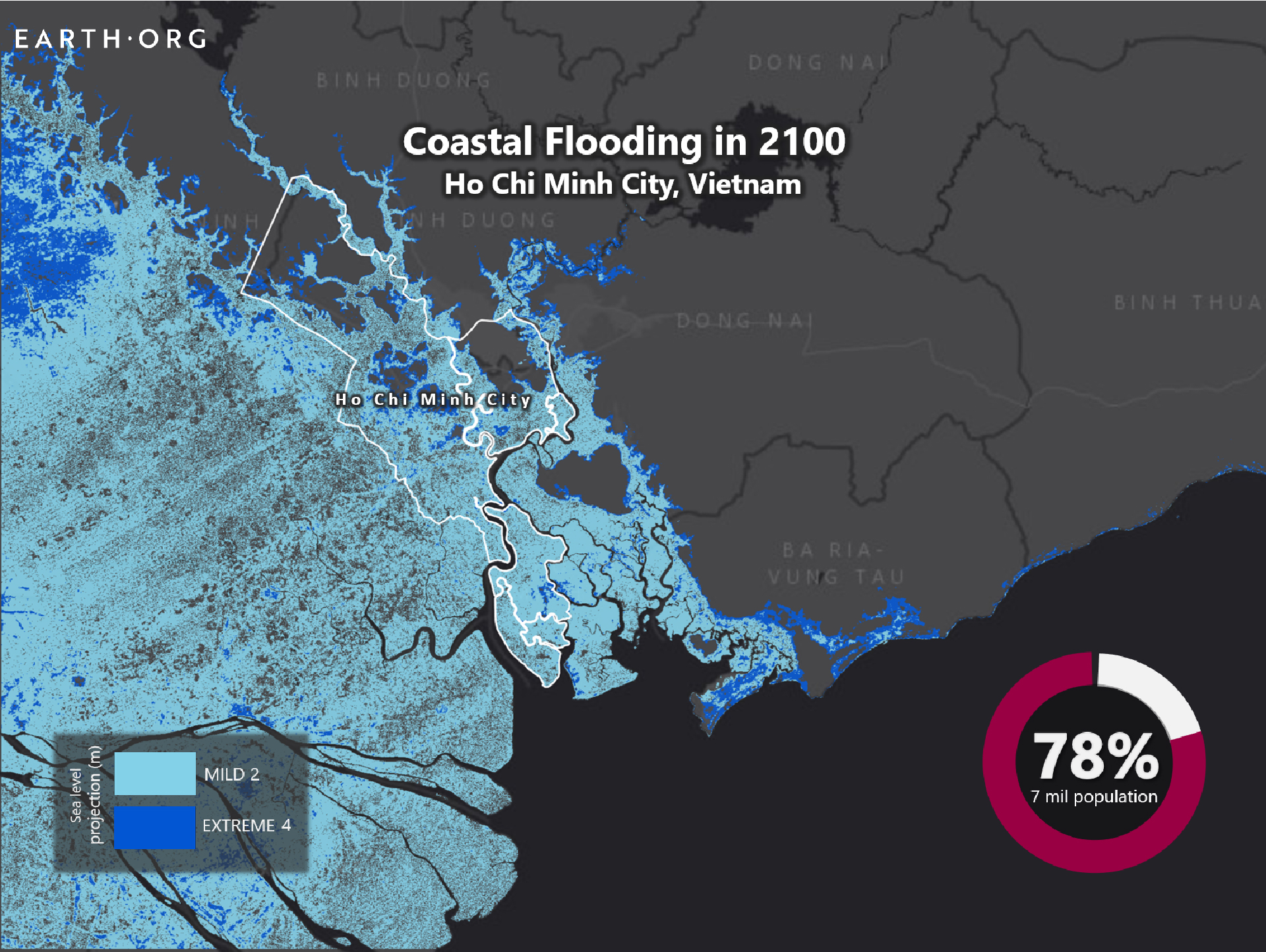 Sea level rise by 2100 Ho Chi Minh