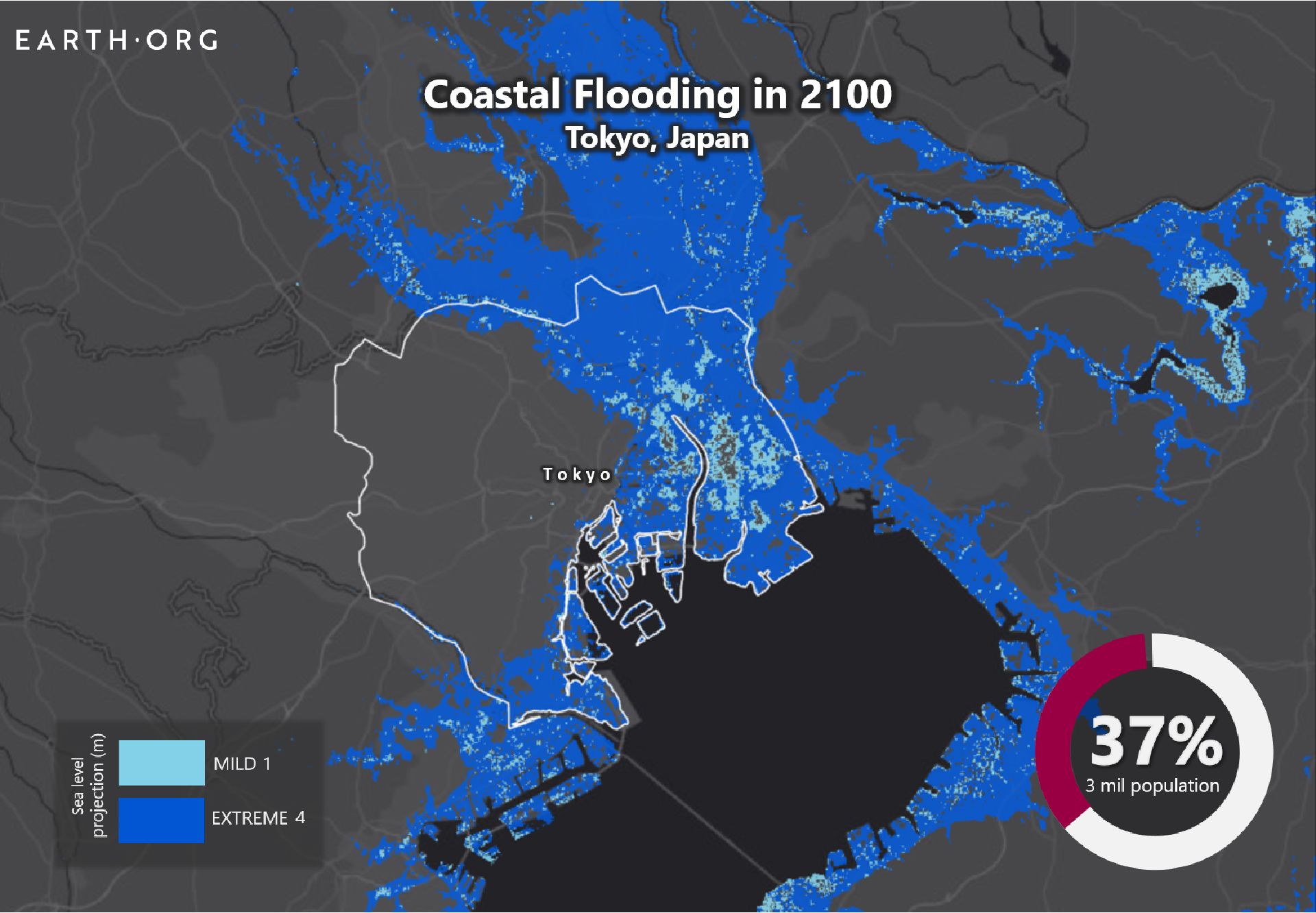 sea level rise by 2100 Tokyo