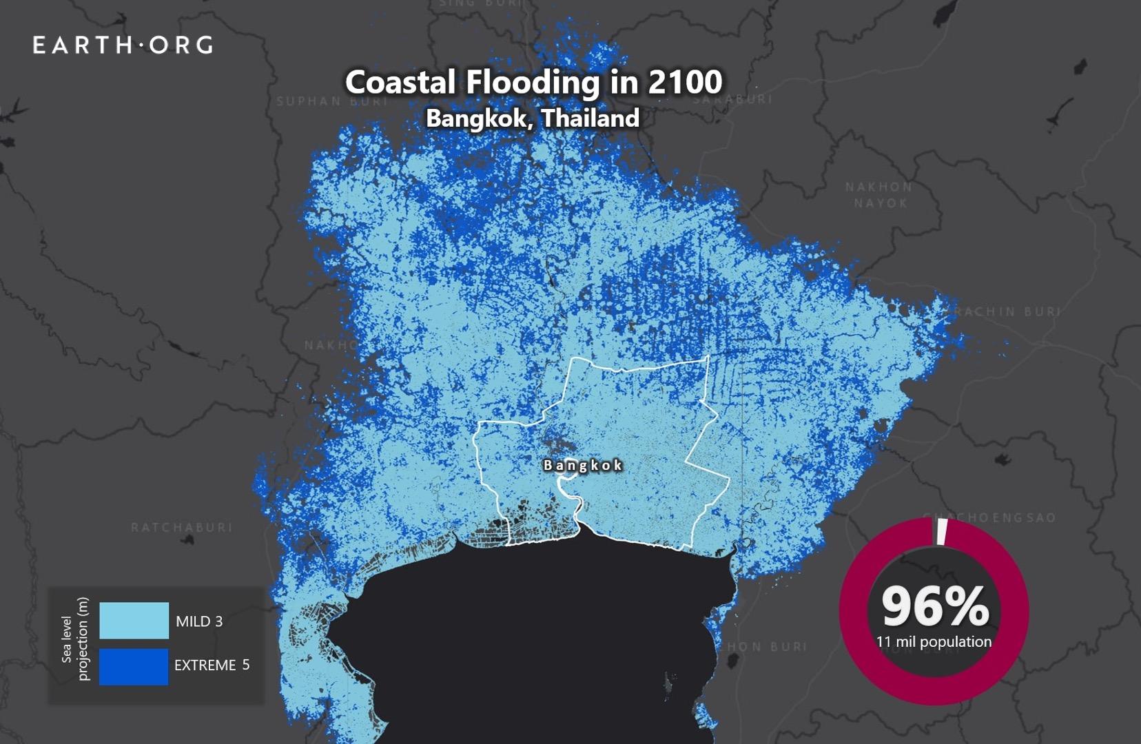 sea level rise by 2100 bangkok