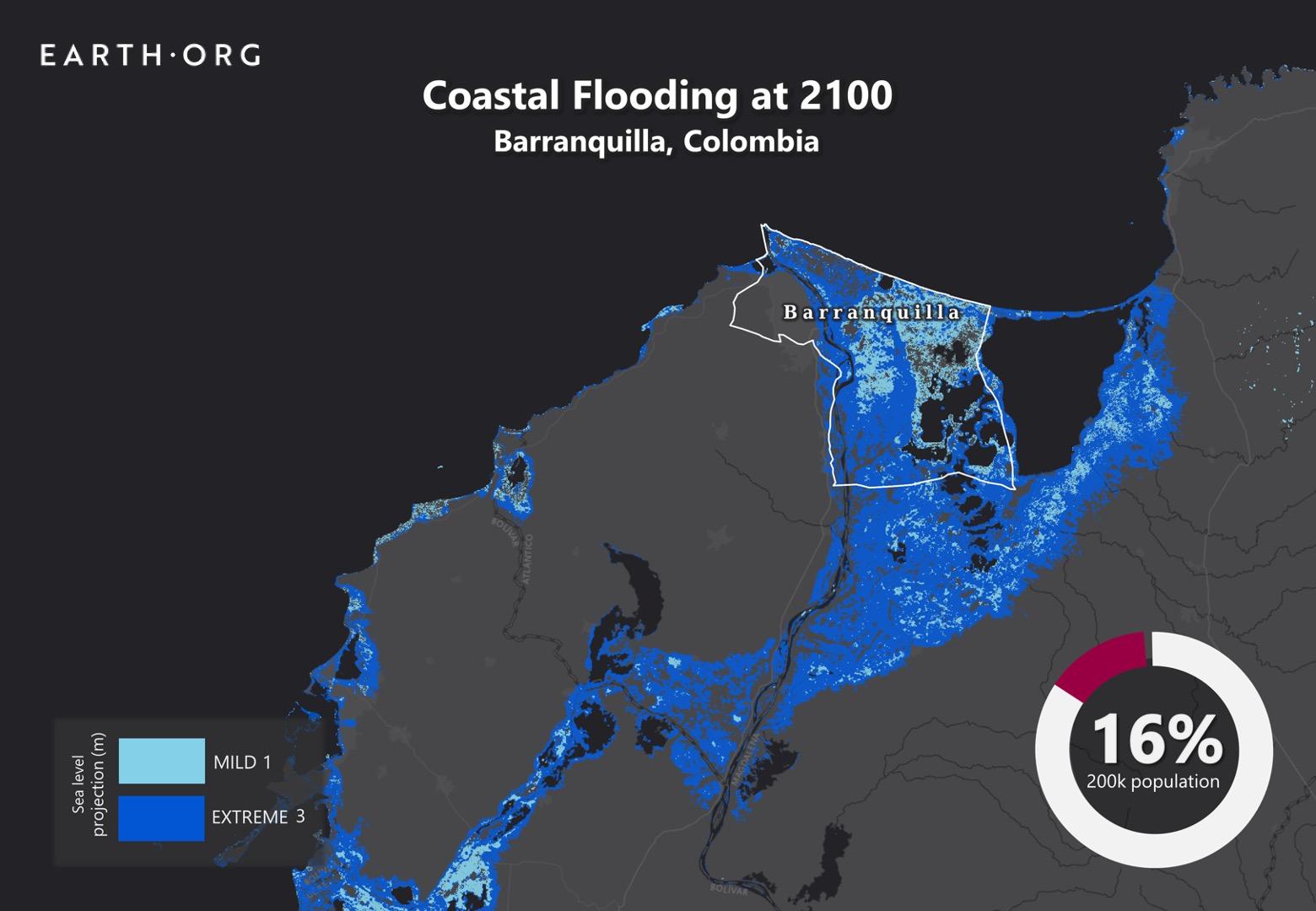 sea level rise by 2100 barranquilla