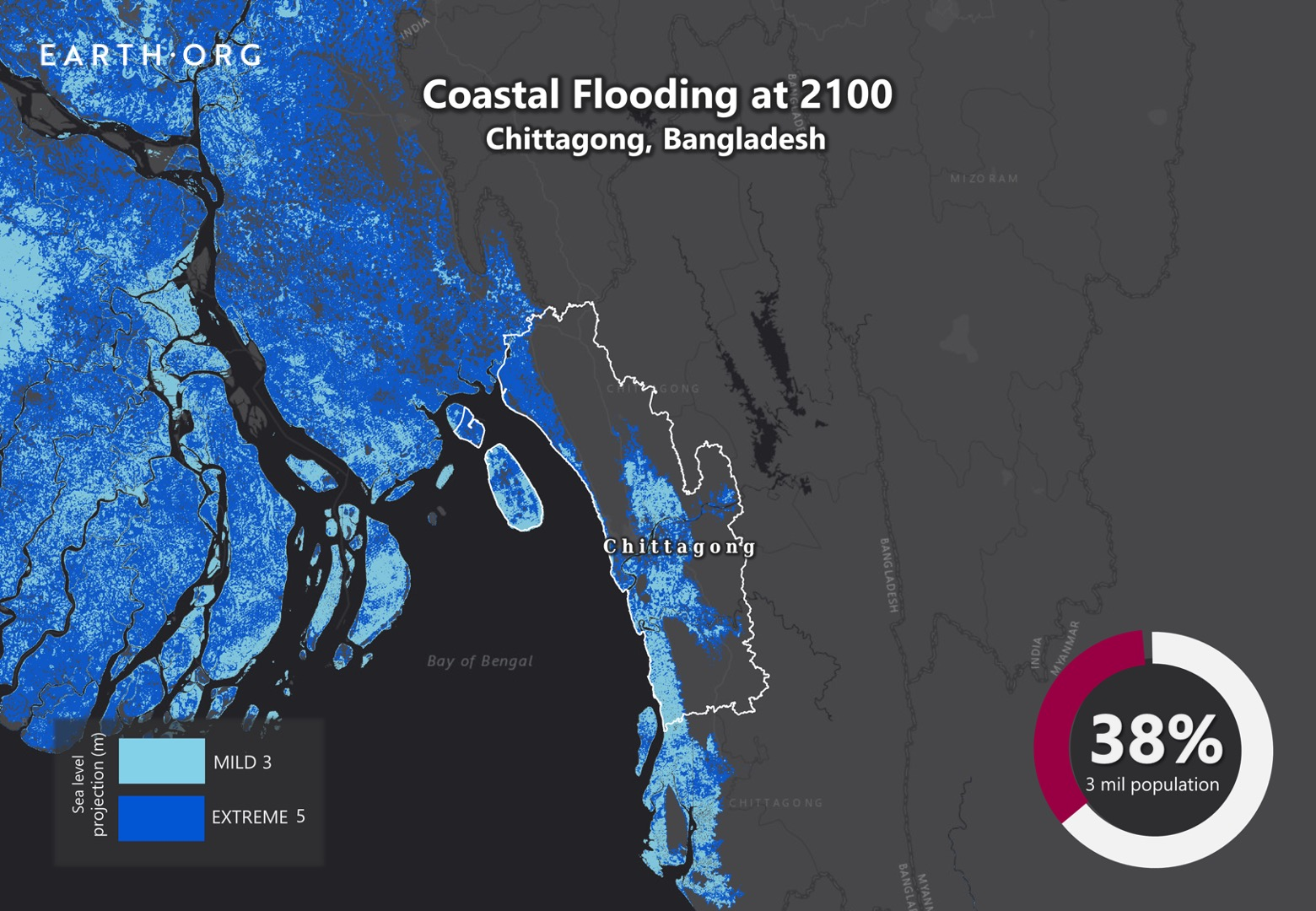 sea level rise by 2100 chittagong