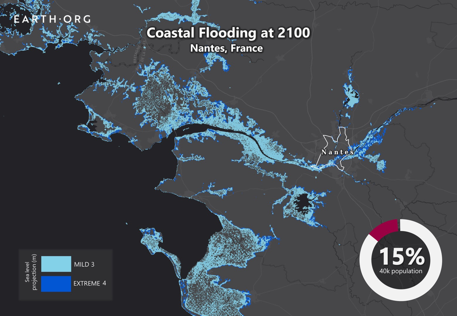 sea level rise by 2100 nantes