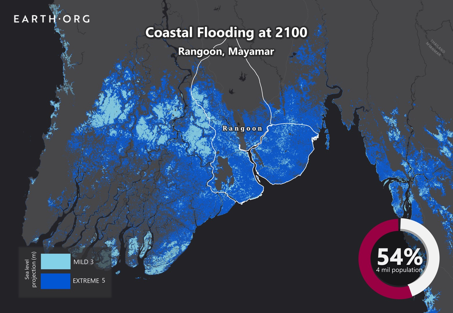 sea level rise by 2100 rangoon