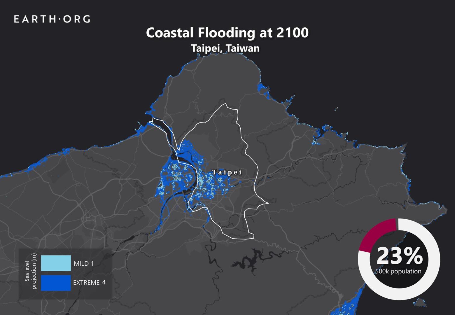 sea level rise by 2100 taipei