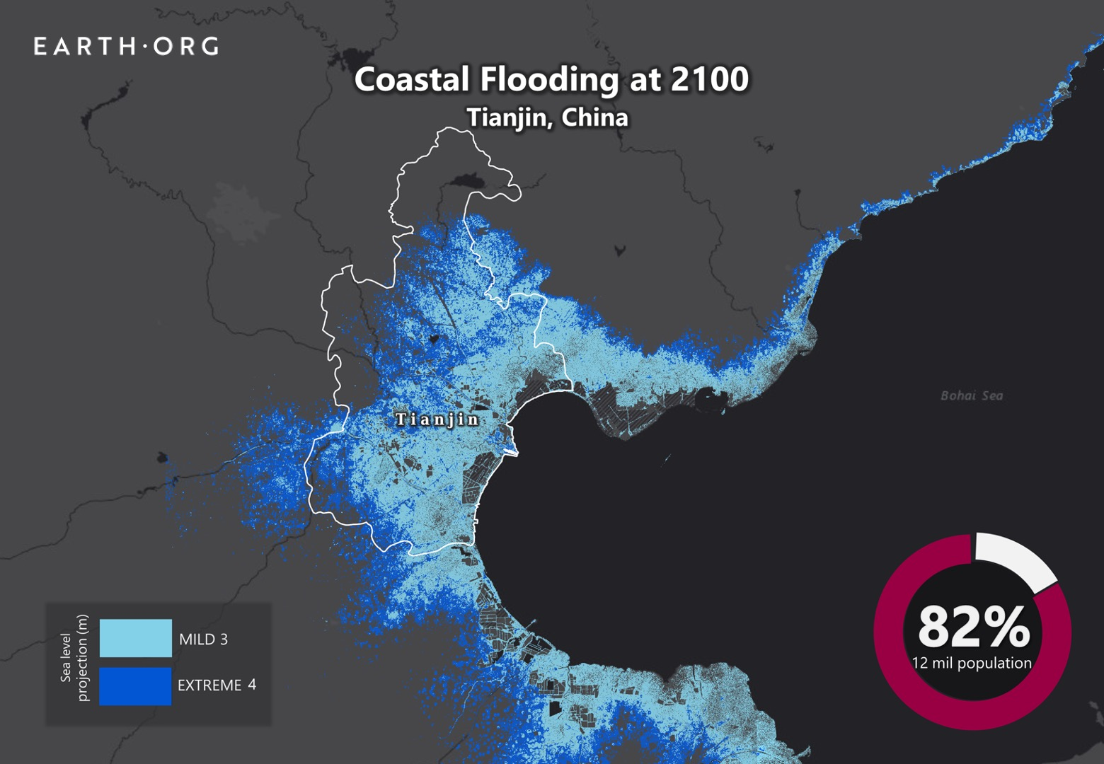 sea level rise by 2100 tianjin