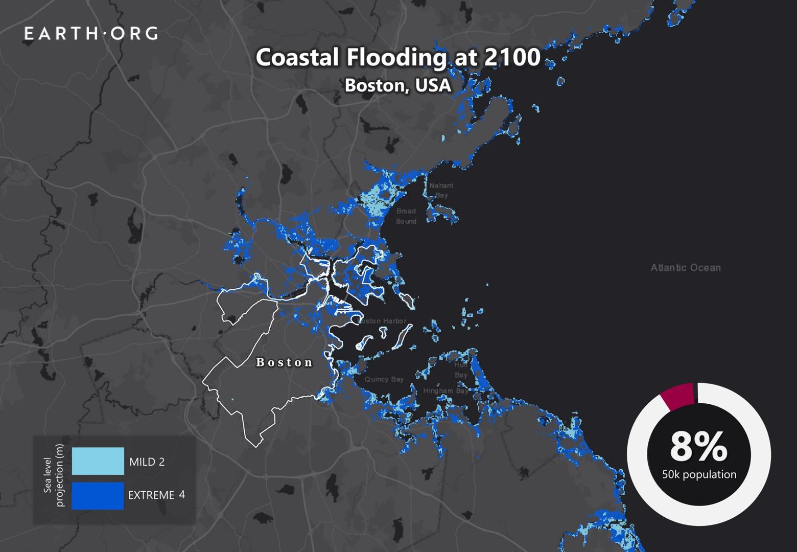 sea level rise by 2100 boston