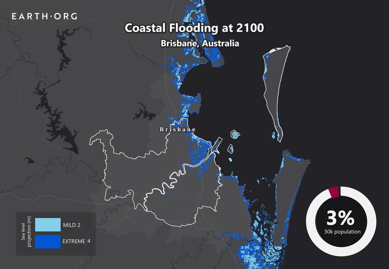 sea level rise by 2100 brisbane