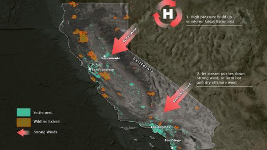 Santa Ana and Diablo Winds to Worsen the California Wildfires