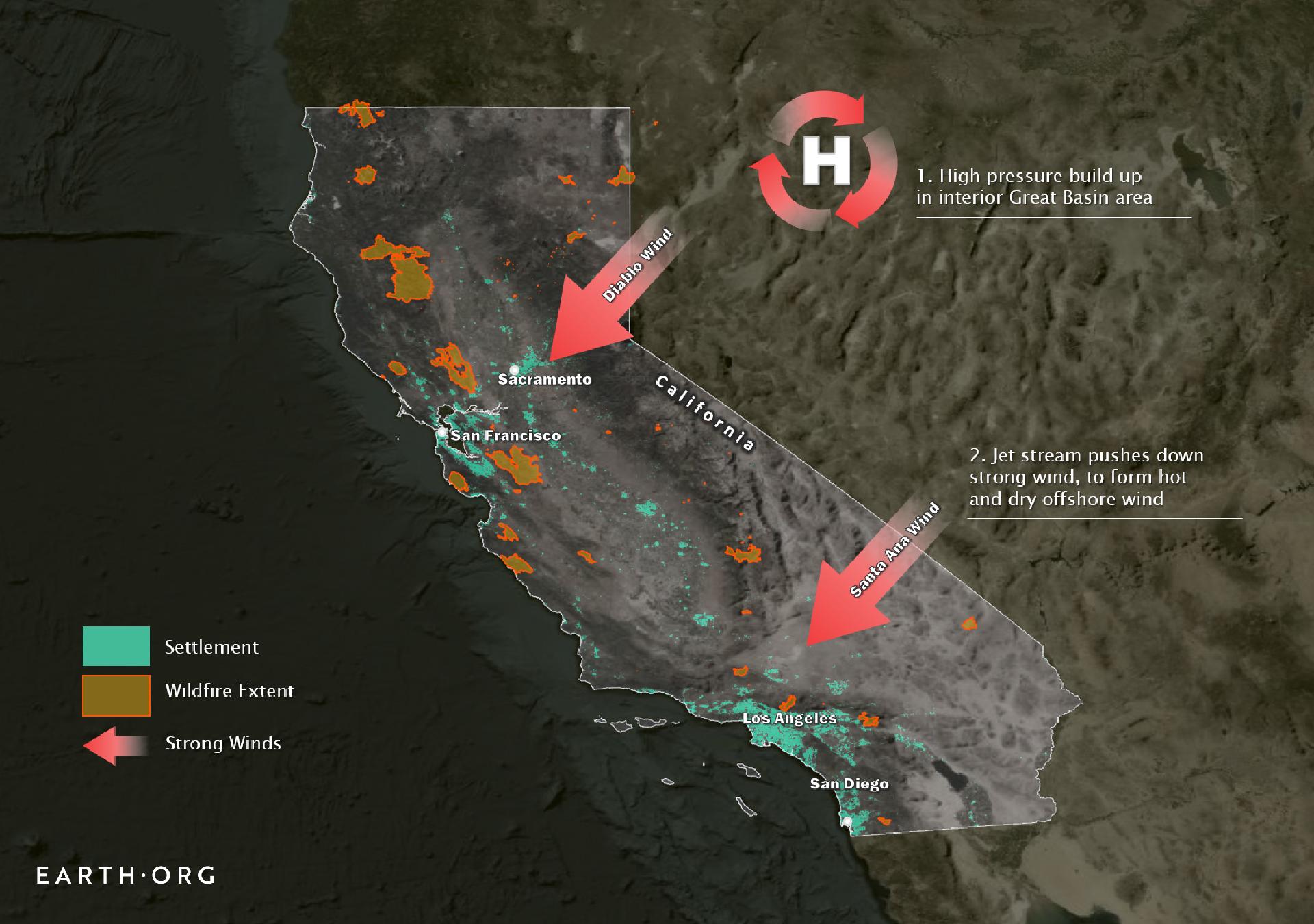 diablo santa ana winds california wildfires