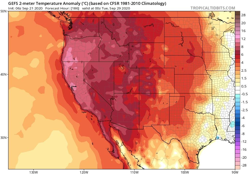Projected october heatwave USA west coast