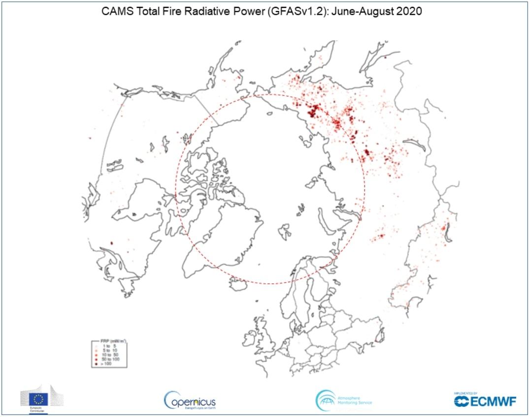 Arctic wildfires copernicus ESA 2020 june
