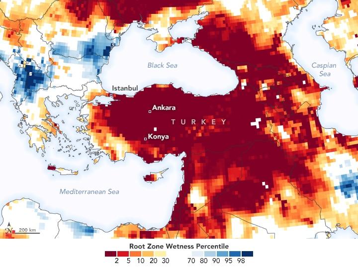 turkey drought nasa satellite 2020 2021