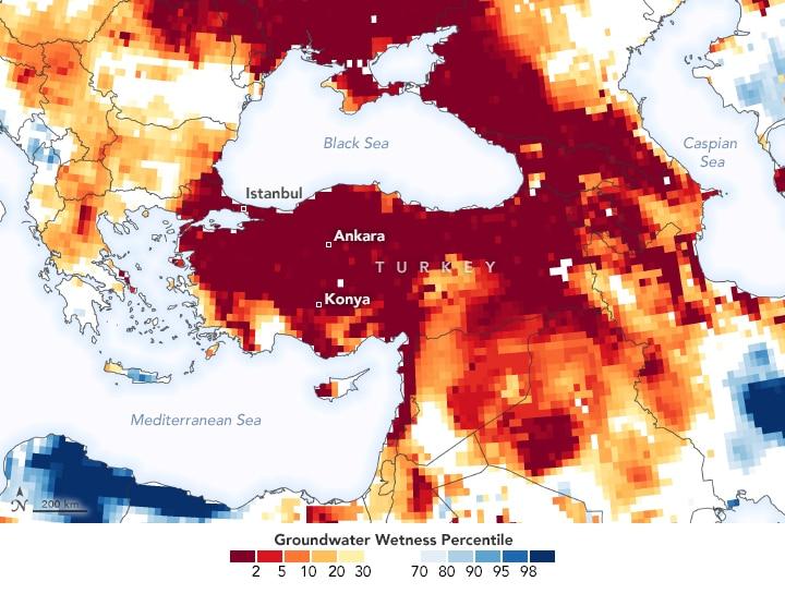 turkey severe drought 2020 2021 nasa