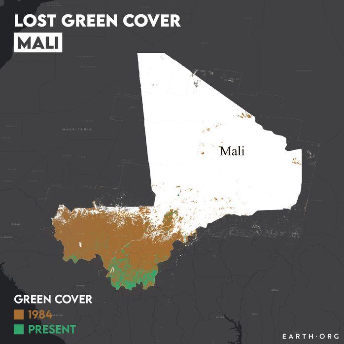 Mali desertification map 1984 vs present