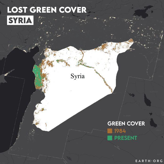 Syria desertification map 1984 vs present