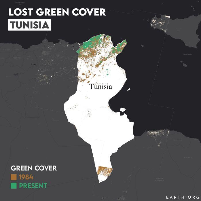Tunisia desertification map 1984 vs present
